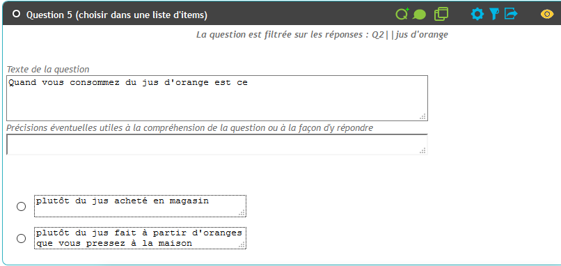 Filtre de question